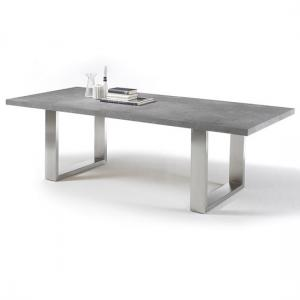 Savona Extra Large Dining Table In Grey And Stainless Steel Legs