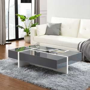 Storm Storage Coffee Table In Grey And White High Gloss