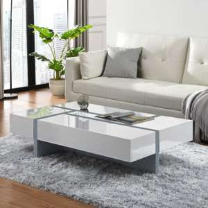 Storm Storage Coffee Table In White And Grey High Gloss