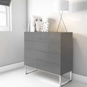 Strada Grey Gloss Chest of Drawers With Glass Top And 5 Drawers