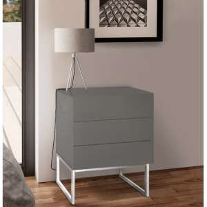 Strada Grey Gloss Bedside Cabinet With Glass Top And 3 Drawers