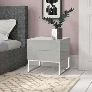 Strada Grey  Gloss Bedside Cabinet With Glass Top And 2 Drawers