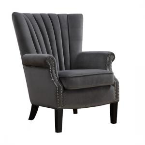 Silon Fabric Armchair In Grey Velvet And Dark Black Legs