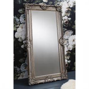 Valley Floor Mirror Rectangular Leaner In Antique Silver