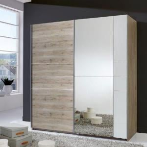 Stream Sliding Wardrobe In San Remo Oak And Alpine White