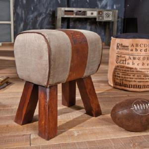 Stromboli Canvas and Brown Leather Finish Stool With Wooden Legs