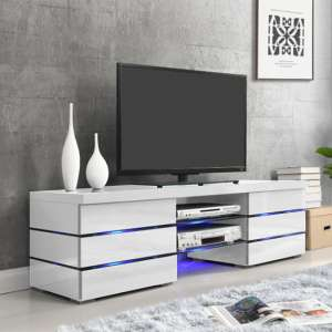 Svenja Media TV Stand in High Gloss White With Blue LED Lights