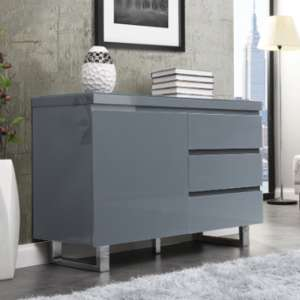 Sydney Small Sideboard In High Gloss Grey With 3 Drawer 1 Door