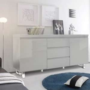 Sydney 2 Door Large Sideboard In High Gloss Grey With 3 Drawer
