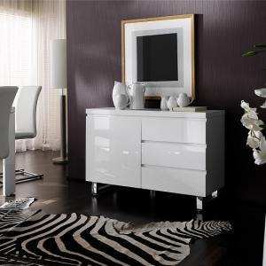 Sydney Small Sideboard In High Gloss White 3 Drawer 1 Door