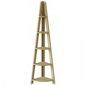 Paltrow Corner Shelving Unit In Oak With Ladder Style