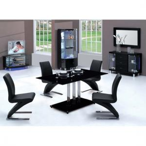 Trilogy Black Dining Table With Six D216 Black Chairs