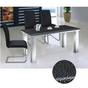 Black Flower Marble Effect Stone Dining Table Only