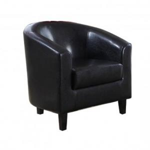 Hana Stylish Tub Chair In Black Faux Leather