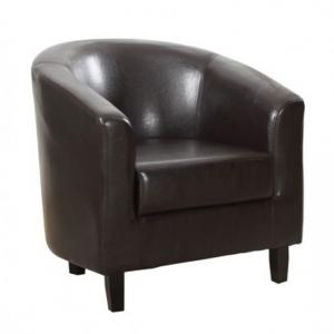 Hana Stylish Tub Chair In Brown Faux Leather