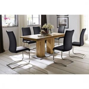 Turin Extendable Dining Table In Core Beech With 6 Arco Chairs