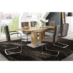 Turin Extendable Dining Table In Core Beech With 6 Luna Chairs