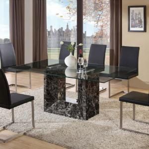 Tempo Glass Dining Table With Marble Base