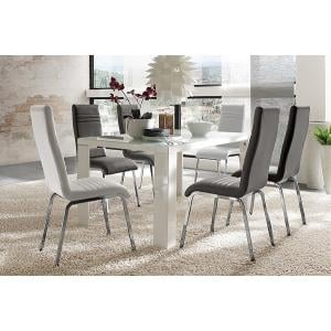 Tizio Glass 140cm Dining Table In White Gloss With 6 Dora Chairs_1