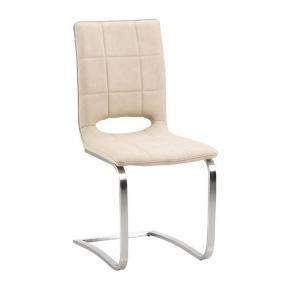 Tripoli Dining Chair In Light Brown Faux Leather With Steel Base