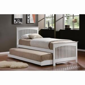 Toronto White 3\' Bed in Rubberwood