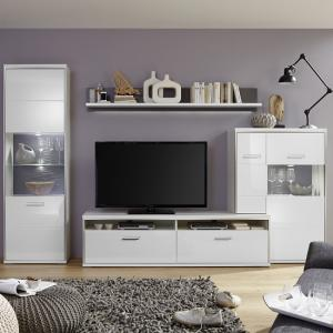Libya Living Room Set 6 In White High Gloss With LED Lighting