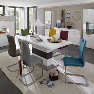 Libya Extendable Dining Table In White With 6 Paulo Chairs
