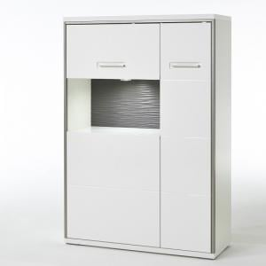 Libya Right Glass Highboard In White Gloss And LED Lighting