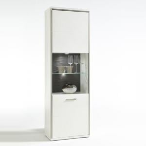 Libya Right Glass Display Cabinet In White Gloss And LED Lights