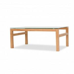 Tribe Glass Coffee Table In Clear With Solid White Oak Frame