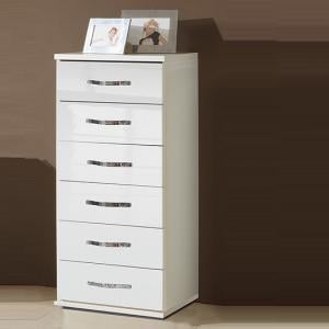 Luton Chest of Drawers Tall In High Gloss Alpine White
