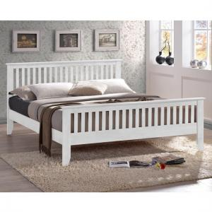 Turin Contemporary Wooden Bed In White