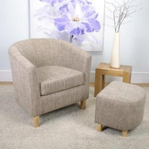 Pleven Tub Chair With Stool In Tweed Fabric_1