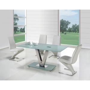 V Frosted Glass Dining Table And 6 Z Dining Chairs