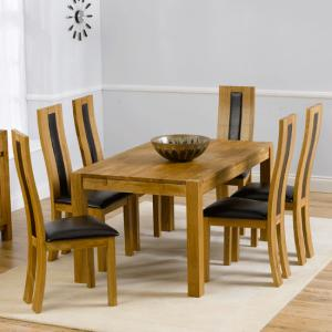 Milan Oak Dining Table And 6 Havana Dining Chairs