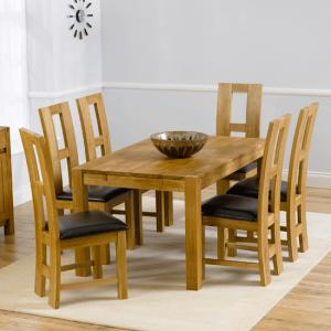 Milan Oak Dining Table And 6 Louis Dining Chairs