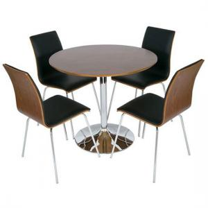 Verona Round Walnut Dining Table And 4 Rimini Walnut Black Chair