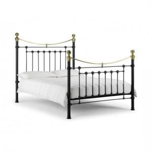 Victory Metal Double Bed In Satin Black With Real Brass Effect