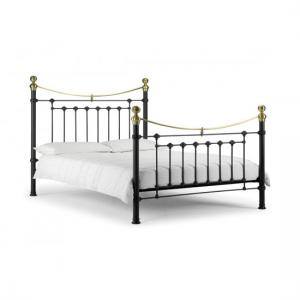 Victory Metal Single Bed In Satin Black With Real Brass Effect
