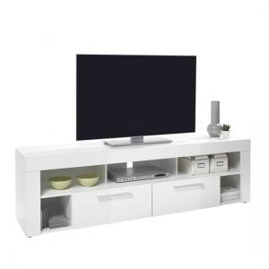 Chapel LCD TV Stand In White Gloss With 2 Drawers 5 Compartments