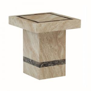 Aviator Marble End Table Square In Cream And Cappuccino