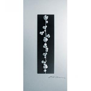 Black Wall Art Raised Silver Beads
