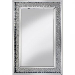 Rosalie Wall Mirror Large In Silver With Glass Crystals Border