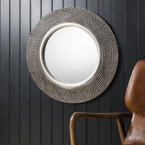 Whitton Wall Mirror Round With Bobble Effect in Pewter Finish