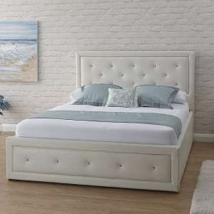 Wolford Faux Leather Ottoman Storage Bed In White