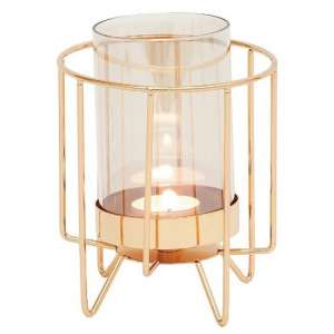 Jayda Small Candle Holder In Dulled Gold Finish