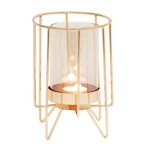 Jayda Large Candle Holder In Dulled Gold Finish