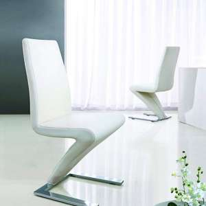 Demi Z Dining Room Chair In White With Chrome Feet