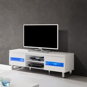 Zedan LCD TV Stand In White Gloss With LED Lights