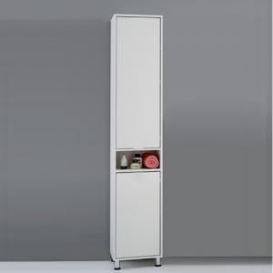 Zamora1 Tall bathroom Cupboard In White Finish With 2 Door